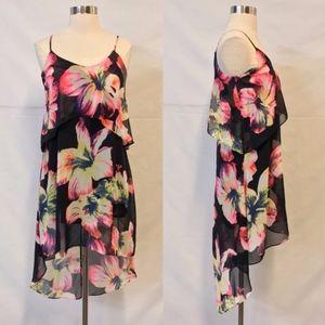 Soprano Black Floral Print High Low Dress XS